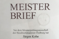 Meisterbrief Jürgen Kobe